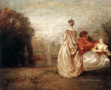 Two Cousins Jean Antoine Watteau classic Rococo Oil Paintings