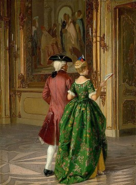 couple to party Mariano Alonso Perez Rococo Oil Paintings