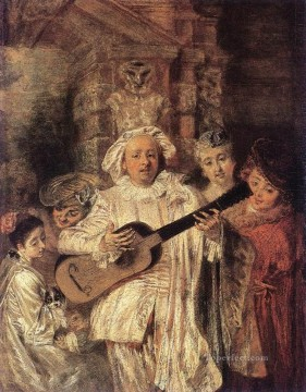 Watteau Canvas - Gilles and his Family Jean Antoine Watteau classic Rococo