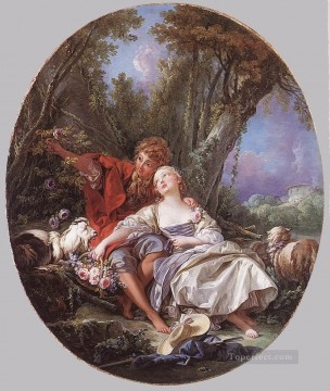 Shepherd and Shepherdess Reposing Francois Boucher classic Rococo Oil Paintings