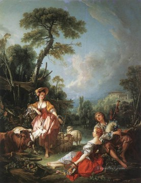 A Summer Pastoral Francois Boucher classic Rococo Oil Paintings