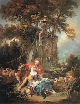 An Autumn Pastoral Francois Boucher classic Rococo Oil Paintings