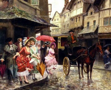 Classical Painting - Ladies Carriage Mariano Alonso Perez Rococo
