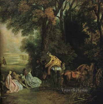 Watteau Canvas - A Halt During the Chase Jean Antoine Watteau classic Rococo
