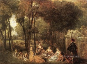 Les Champs Elysees Jean Antoine Watteau classic Rococo Oil Paintings