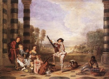 Watteau Canvas - Les Charmes de la Vie The Music Party Jean Antoine Watteau classic Rococo