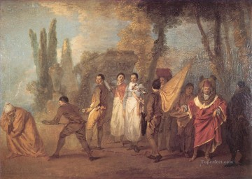 Quay je fait assassins maudits Jean Antoine Watteau classic Rococo Oil Paintings
