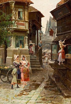 Classical Painting - ladies in the street Mariano Alonso Perez Rococo