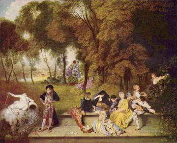 Reunion en plein air Jean Antoine Watteau classic Rococo Oil Paintings