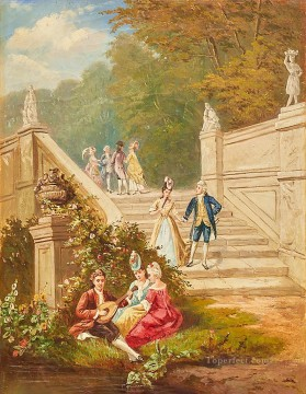 outside party rococo Bild W Becker Oil Paintings