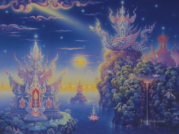 contemporary Buddhism fantasy 005 CK Fairy Tales Oil Paintings