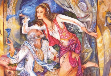 En la trampa Persian Miniatures Fairy Tales Oil Paintings