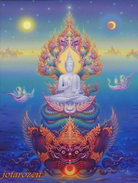 Fairy Tales Painting - In Praise Of Lord Buddha CK Fairy Tales
