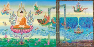 Fairy Tales Painting - In Praise of Lord Buddha 2 CK Fairy Tales