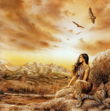 Dream Painting - dreams coyote summer Indian girl Fantastic