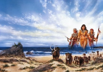 Fantastic Stories Painting - American Indians people of the sea Fantastic