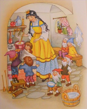 Fantastic Stories Painting - Snow White and The Dwarfs Fantastic