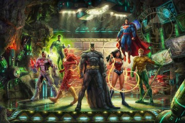 THE JUSTICE LEAGUE Hollywood Movie fantasy Oil Paintings