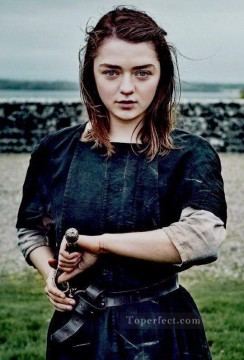 Artworks in 150 Subjects Painting - Arya Stark with Needle Game of Thrones