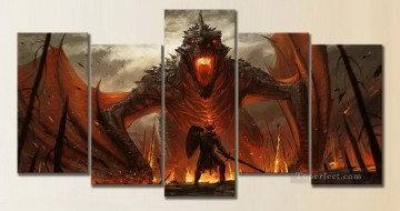 Dragonfire in set group Game of Thrones Oil Paintings