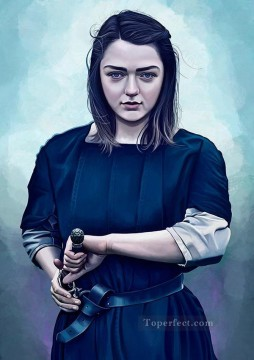 Artworks in 150 Subjects Painting - Portrait of Arya Stark as warrior Game of Thrones