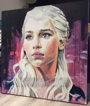 Portrait of Daenerys Targaryen in purple Game of Thrones Oil Paintings
