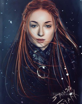 Portrait of Sansa Stark cg Game of Thrones Oil Paintings