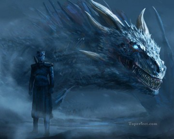 Thrones Art Painting - The Night King and Dragon Game of Thrones