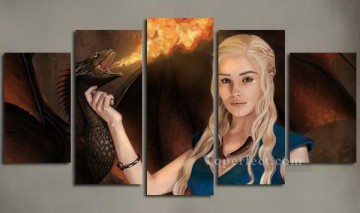 Daenerys Targaryen Dragon Fire in set Game of Thrones Oil Paintings