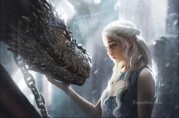 Thrones Art Painting - Daenerys Targaryen and Dragon Game of Thrones