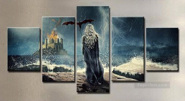 Thrones Art Painting - Daenerys Targaryen and Flying Dragon 5 panels Game of Thrones