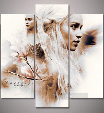 Artworks in 150 Subjects Painting - Daenerys Targaryen three panels Game of Thrones