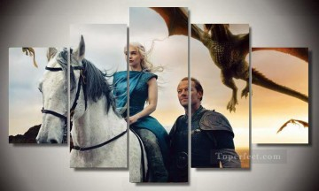 Thrones Art Painting - Daenerys Targaryen with Jorah Mormont Game of Thrones