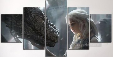 Artworks in 150 Subjects Painting - Dragon Daenerys Targaryen 5 panels Game of Thrones