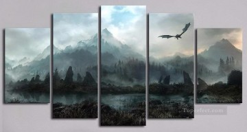 Dragon Flying on Mountains Game of Thrones Oil Paintings