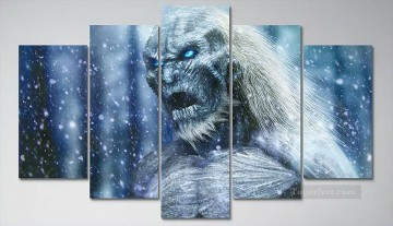Ghost A Song of Ice and Fire in 5 panels Oil Paintings