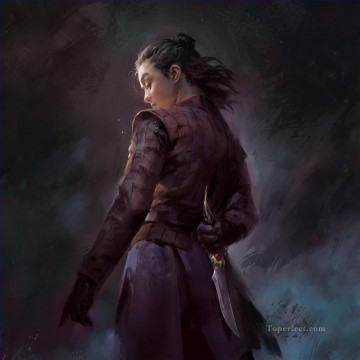 Artworks in 150 Subjects Painting - Girl Arya Stark Game of Thrones