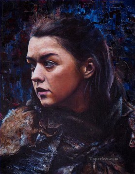 Artworks in 150 Subjects Painting - Portrait of Arya Stark in blue Game of Thrones