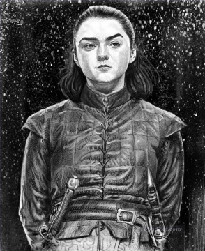 Artworks in 150 Subjects Painting - Portrait of Arya Stark in snow Game of Thrones