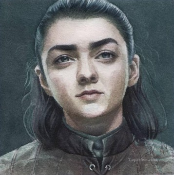 Arya Painting - Portrait of Arya Stark smiling Game of Thrones
