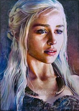 Game of Thrones Painting - Portrait of Daenerys Targaryen 2 Game of Thrones