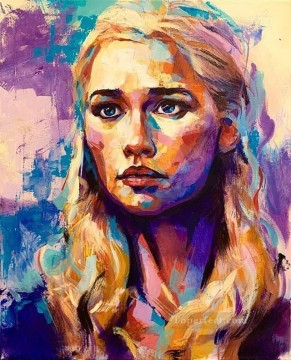 Game of Thrones Painting - Portrait of Daenerys Targaryen colorful Game of Thrones