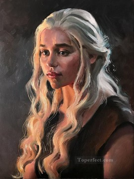 Thrones Art Painting - Portrait of Daenerys Targaryen impasto Game of Thrones