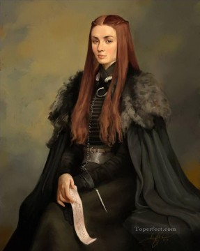 Portrait of Lady Sansa Stark Game of Thrones Oil Paintings