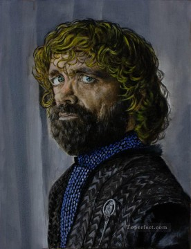 Artworks in 150 Subjects Painting - Portrait of Tyrion Lannister in blue Game of Thrones