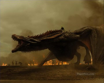 Thrones Art Painting - Angry Dragon Game of Thrones