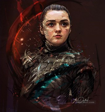 Portrait of Arya Stark cg Game of Thrones Oil Paintings