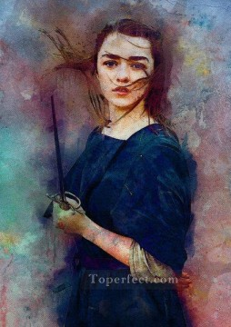 Thrones Art Painting - Portrait of Arya Stark impressionism Game of Thrones
