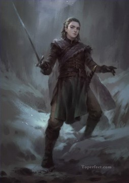 Artworks in 150 Subjects Painting - Portrait of Arya Stark in cold Game of Thrones