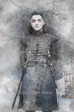 Artworks in 150 Subjects Painting - Portrait of Arya Stark sketch Game of Thrones
